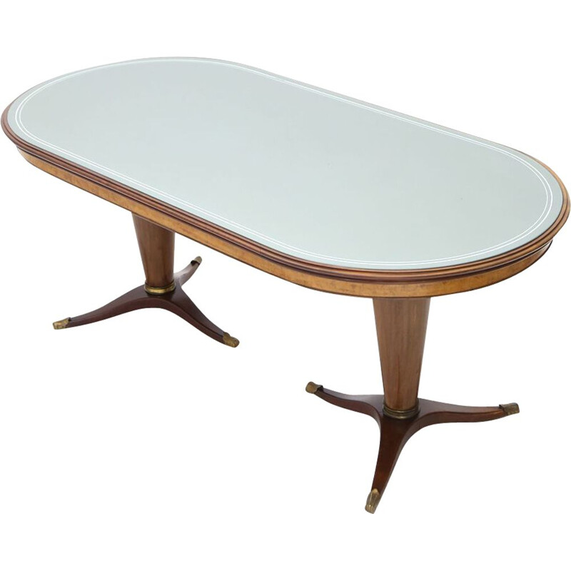 Mid century table with glass top and double central leg, 1950s