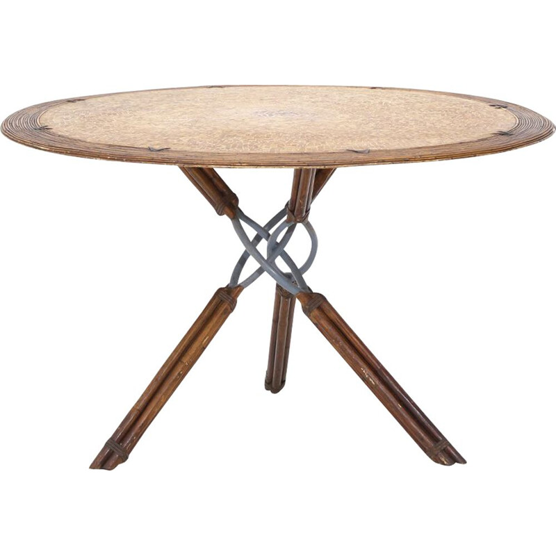 Vintage round rattan, leather and metal table by Ramon Castellanos for Kalma, 1980s