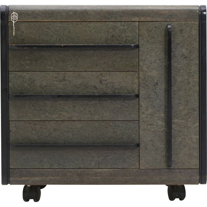 Vintage chest of drawers on wheels in green aniline wood, 1980s