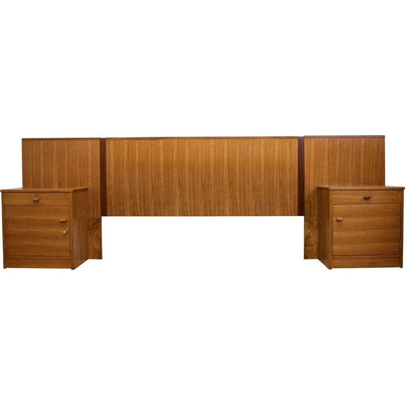 Set of mid-century walnut headboard & 2 nights stands from Alfred Cox, UK
