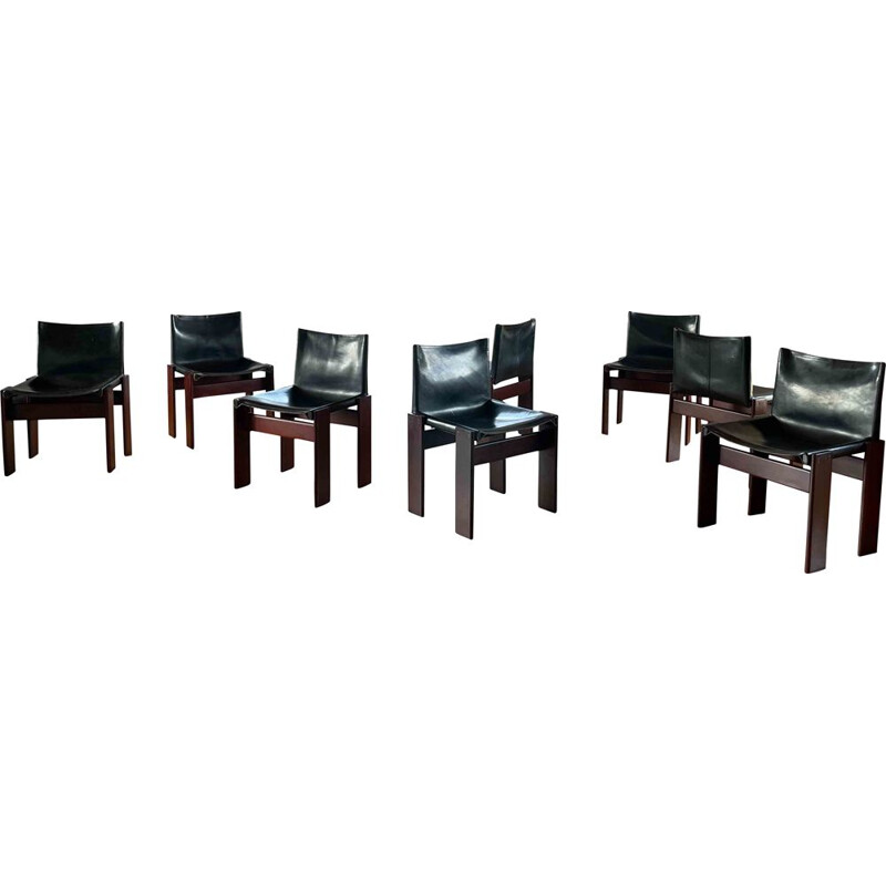 Set of 8 vintage Monk black leather and walnut dining chairs by Afra and Tobia Scarpa for Molteni, 1973