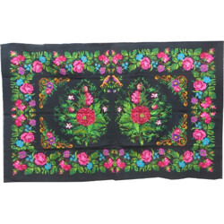 Kilim flower rug in green fabric - 1960s