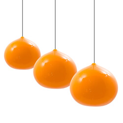 Set of 3 pendant lamps in orange glass, Gino VISTOSI - 1960s