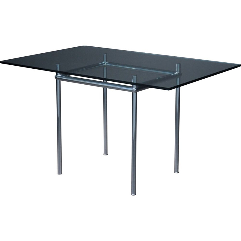Vintage glass top dining table model LC12 by Le Corbusier for Cassina, 1925s