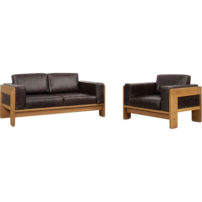 Vintage modernist leather living room set Bastiano by Tobia Scarpa for Haimi, 1960s
