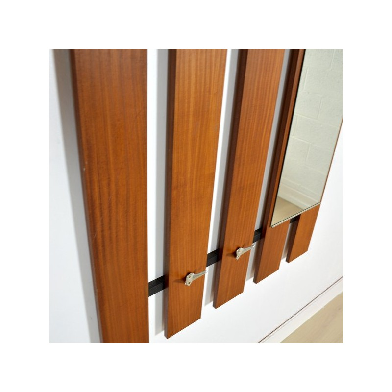 Teak wall mounted coat rack with hooks, mirror & drawer