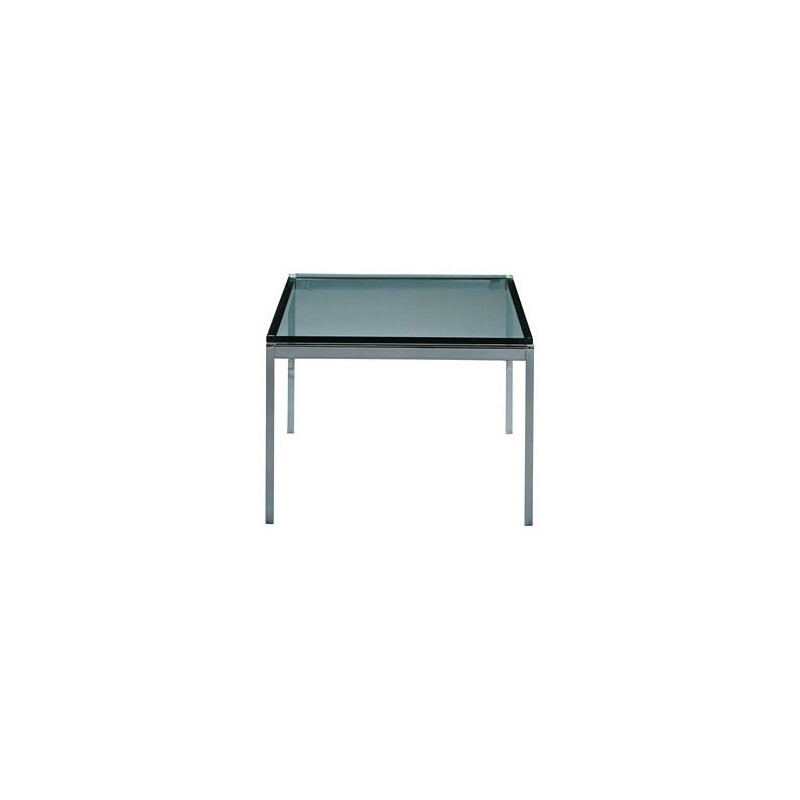 Mid century modern square glass coffee table, Florence KNOLL - 1950s