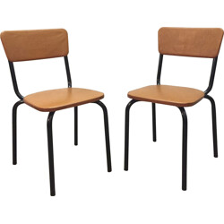 "Meurop pair of ""C-59"" chairs, Pierre GUARICHE - 1950s"