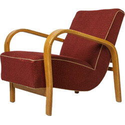 UP Zavody Brno armchair in red fabric, Jindrich HALABALA - 1960s