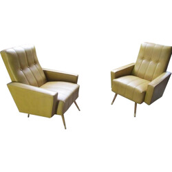 Pair of Italian lounge chairs in mustard leatherette and wood - 1960s