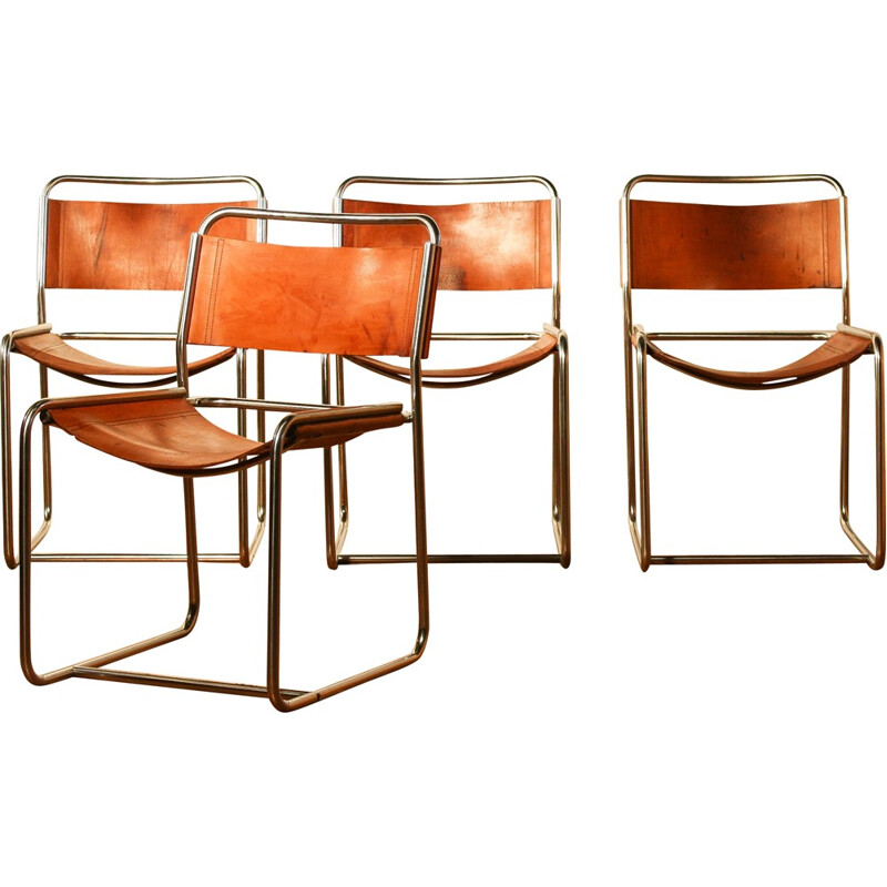 Set of 4 't Spectrum dining chairs in brown leather, Paul IBENS & Clair BATAILLE - 1970s