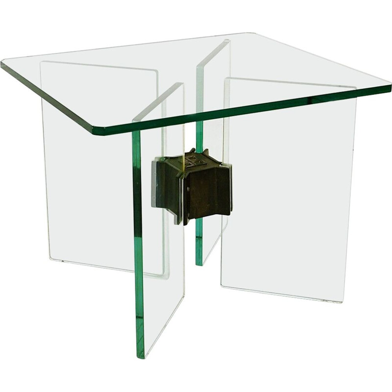 Vintage glass and brass coffee table by Peter Ghyczy, 1970