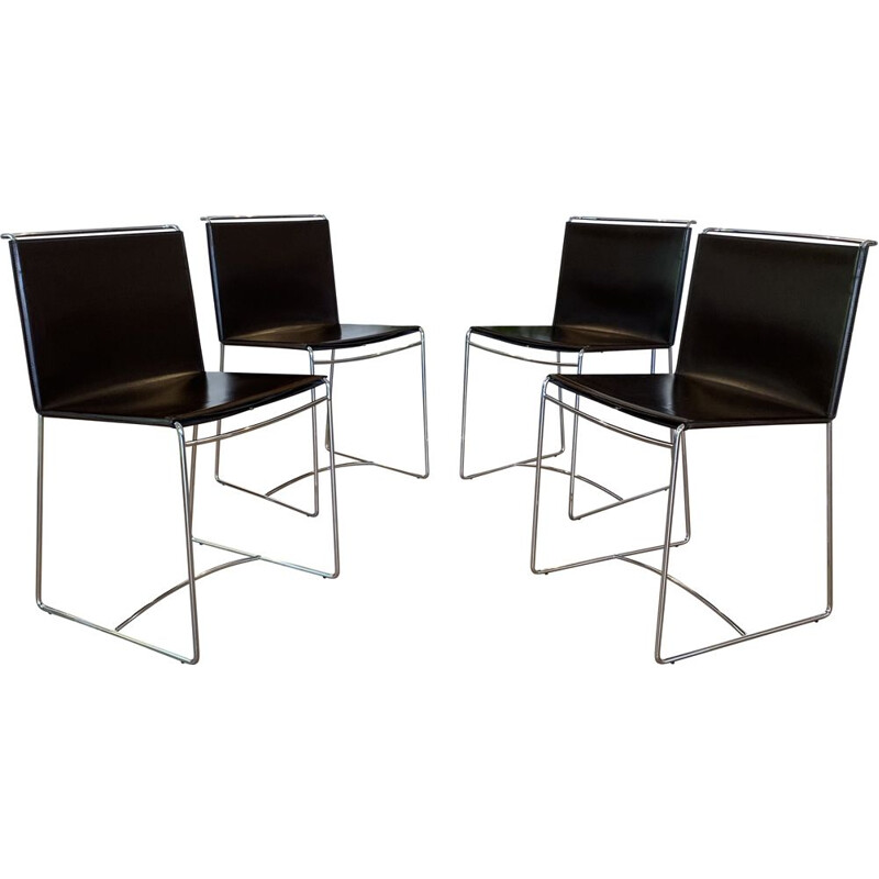 Set of 4 vintage leather and steel chairs by Pascal Mourgue for Ligne Roset