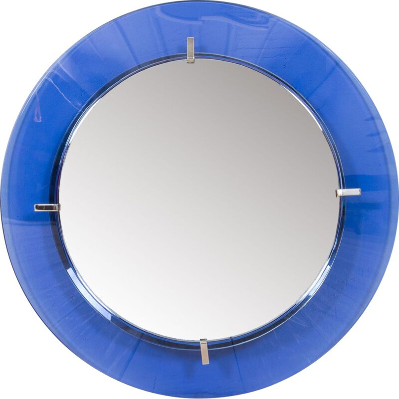 Round vintage mirror with blue cobalt glass frame by Max Ingrand for Fontana Arte, Italy 1950s