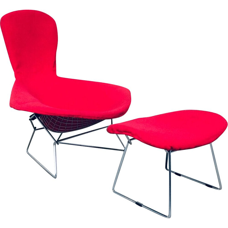 Mid century lounge chair & ottoman by Harry Bertoia for Knoll, 1970s