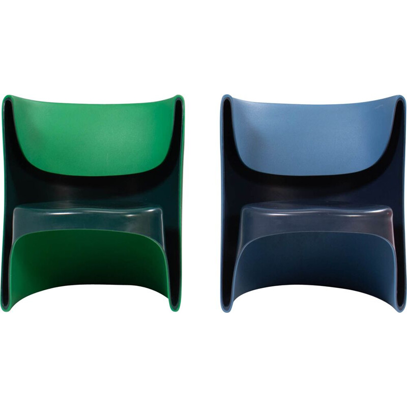 Pair of by vintage Nino Rota blue & green armchairs by Ron Arad for Cappellini, 2002