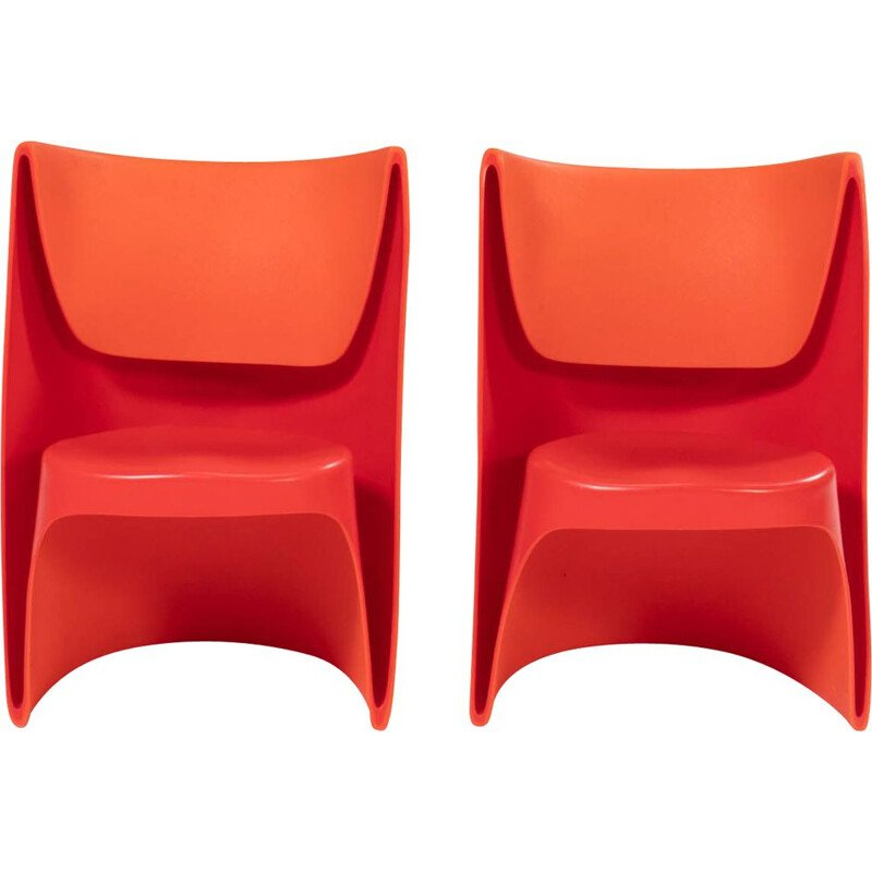 Pair of vintage Nona Rota orange armchairs by Ron Arad for Cappellini, 2002