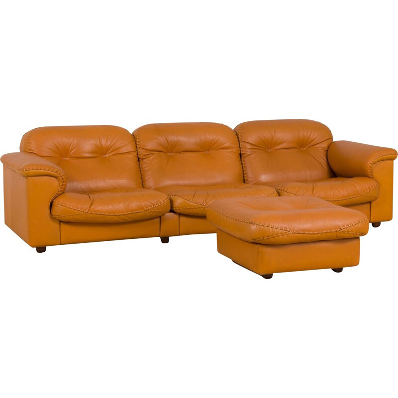 Mid century DS101 sofa with ottoman by De Sede
