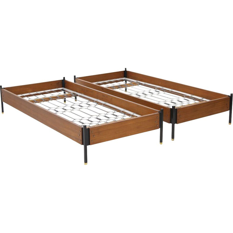 Pair of vintage teak, metal and brass beds by Giuseppe Brusadelli for GBL, 1950s