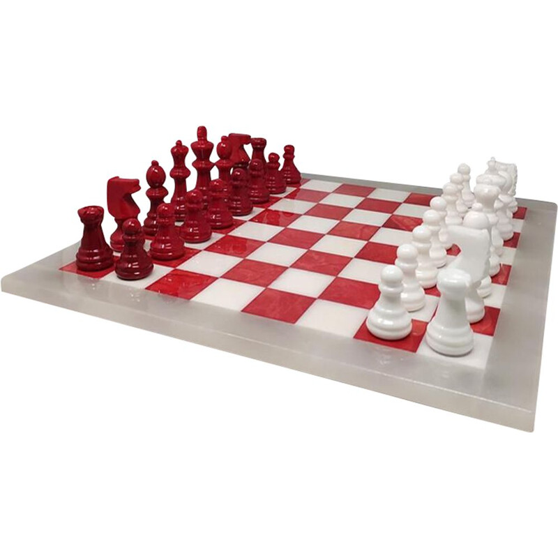 Vintage red and white chess set in Volterra alabaster handmade, Italy 1970s