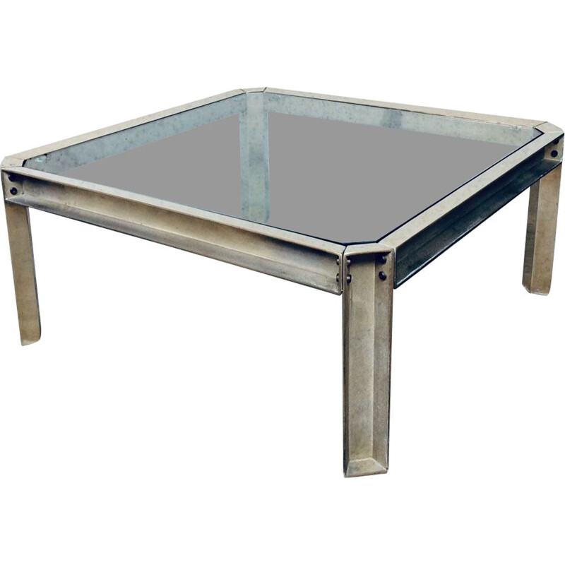 Brass & glass vintage square coffee table by Peter Ghyczy, 1970s