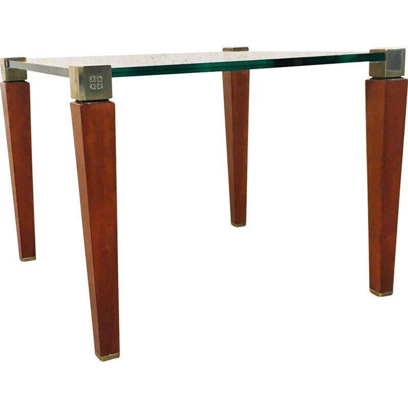 Modernist vintage brass, wood & glass side table by Peter Ghyczy, Holland 1980s