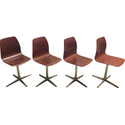 Set of 4 Pagholz chairs in wood and metal - 1970s