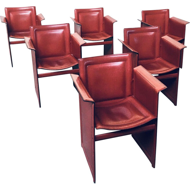 Set of 6 vintage Korium leather dining chairs with armests by Tito Agnoli for Matteo Grassi, Italy 1970s