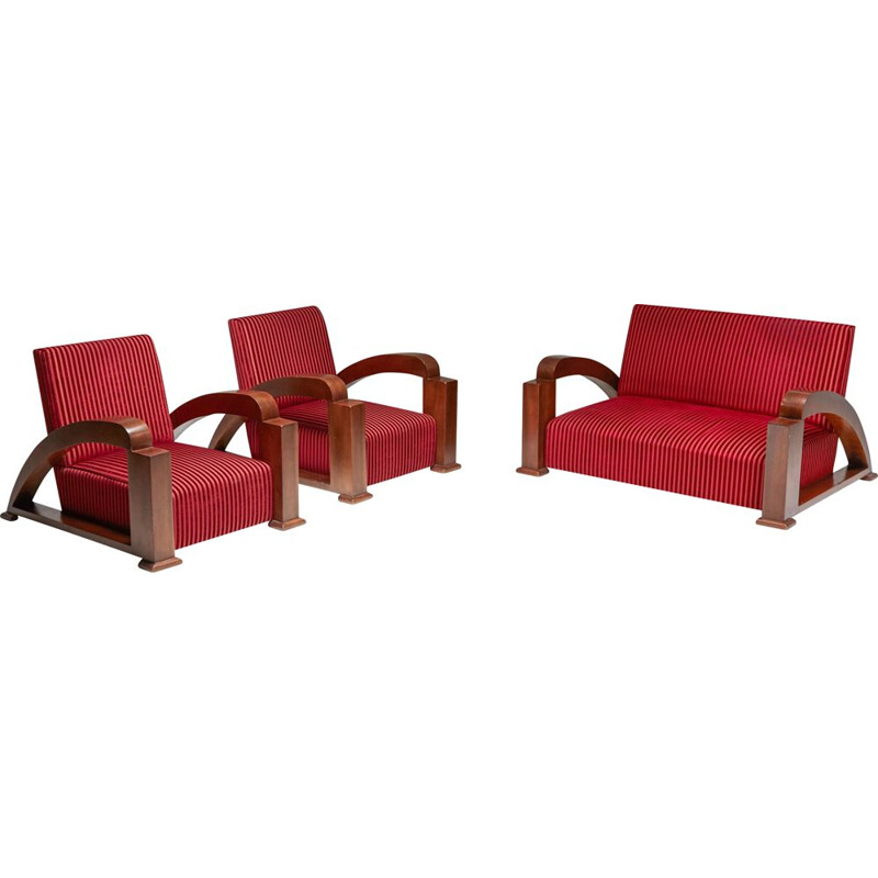 French vintage Art Deco living room set in red striped velvet and with swoosh armrests, 1940s