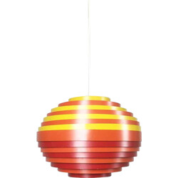 Vest pendant light in red, orange and yellow metal - 1960s