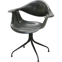 "Herman Miller ""DAF"" black chair, George NELSON - 1950s"