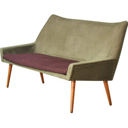Dutch 2-seater sofa in beech and green and purple fabric - 1960s