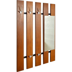 Teak coat rack with mirror - 1960s