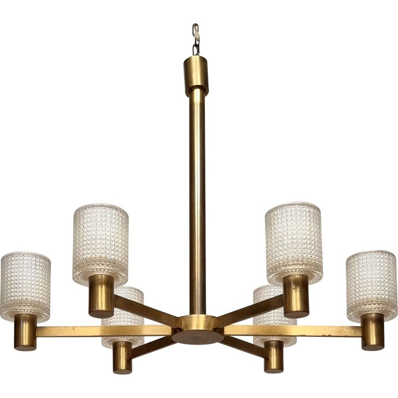 Vintage 6-arm crystal & brass chandelier by Carl Fagerlund for Orrefors, 1950