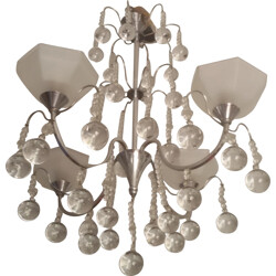 Mid-century chandelier in glass and chromed metal - 1940s
