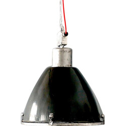 Czech industrial hanging lamp in metal and glass - 1970s