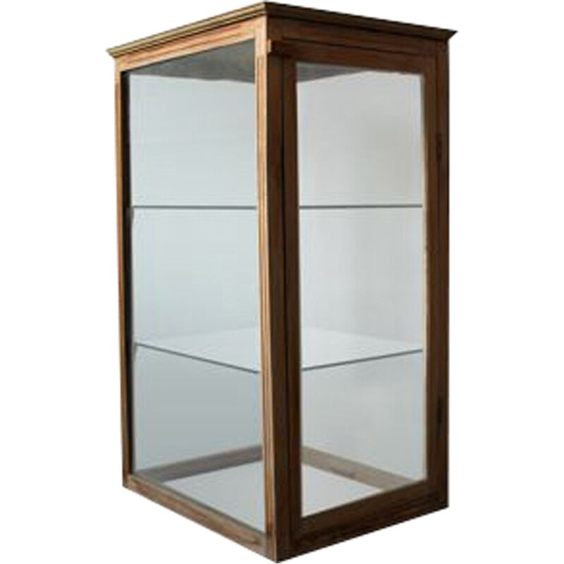 Vintage oakwood and glass countertop display cabinet