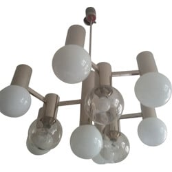 "Italian ""Sputnik"" chandelier in nickel and white opaline, Gaetano SCIOLARI - 1960s"