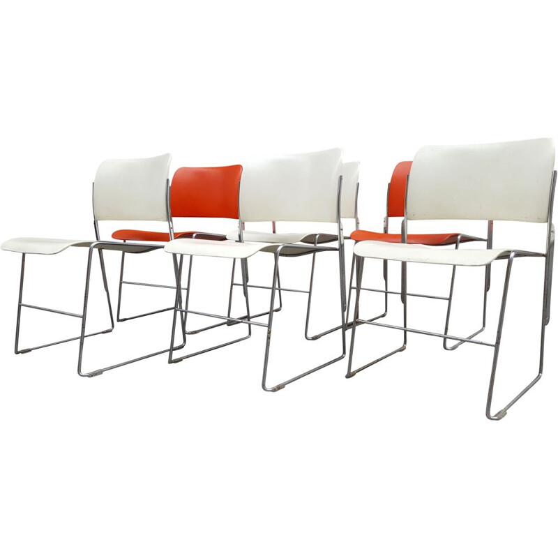 6 vintage chairs model 404 by David Rowland ,1964