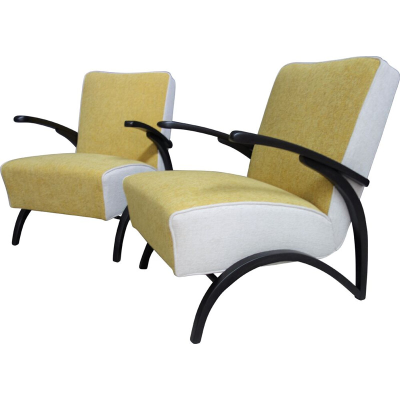 Pair of yellow and white armchairs by Jindrich Halabala, 1930