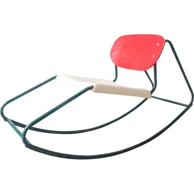 Vintage rocking chair in tubular metal and bentwood, 1960s