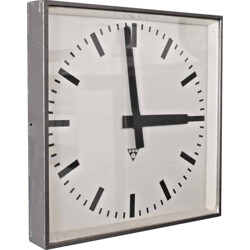 Square Czech Pragotron factory clock in metal and glass - 1960s