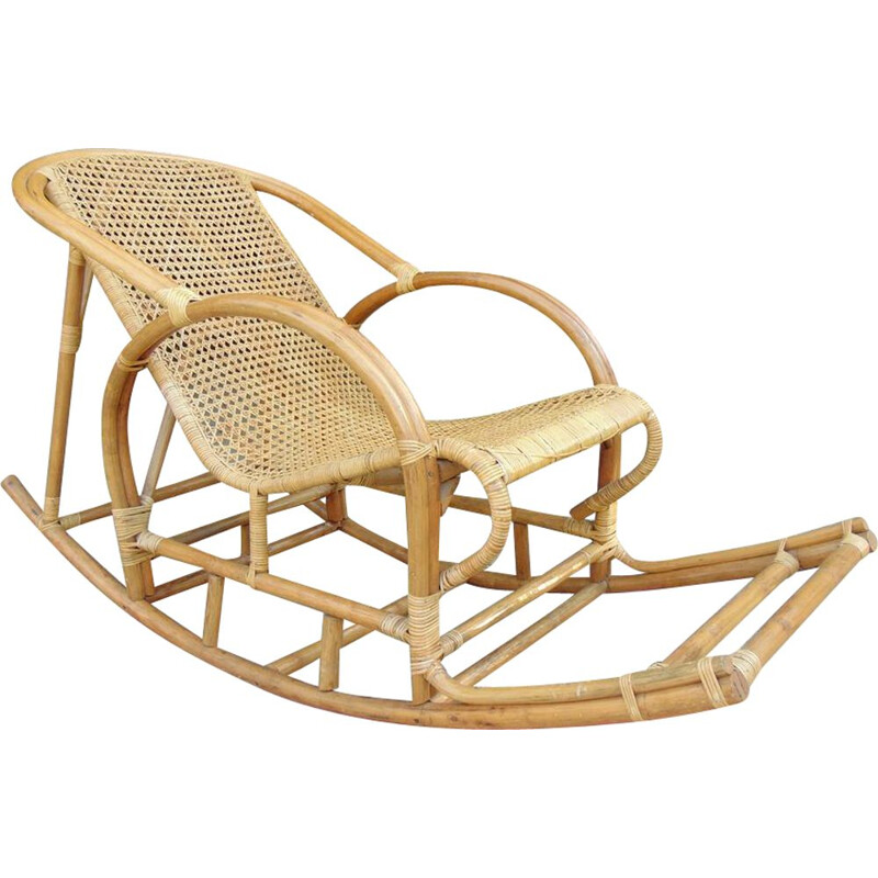 Bamboo and viennese straw vintage rocking chair