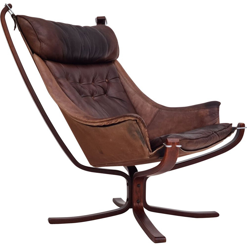 Norwegian vintage leather lounge chair by Sigurd Ressell for Vatne Møbler