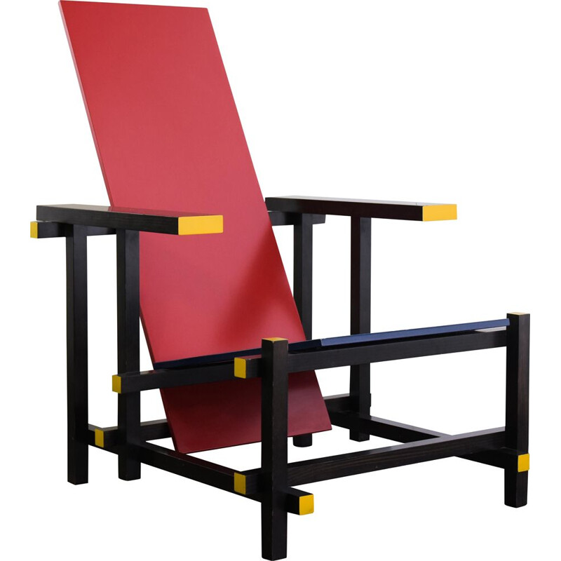 Red and blue vintage armchair by Gerrit Rietveld, 1918