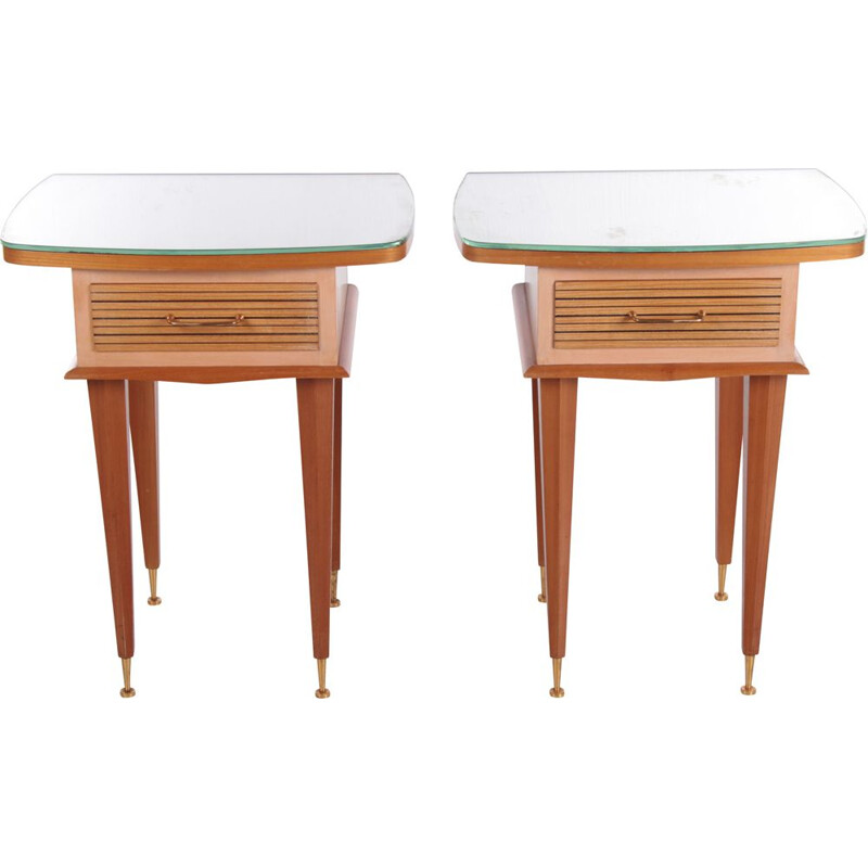 Vintage design italian solid wood night stands by Gio Ponti,1950s