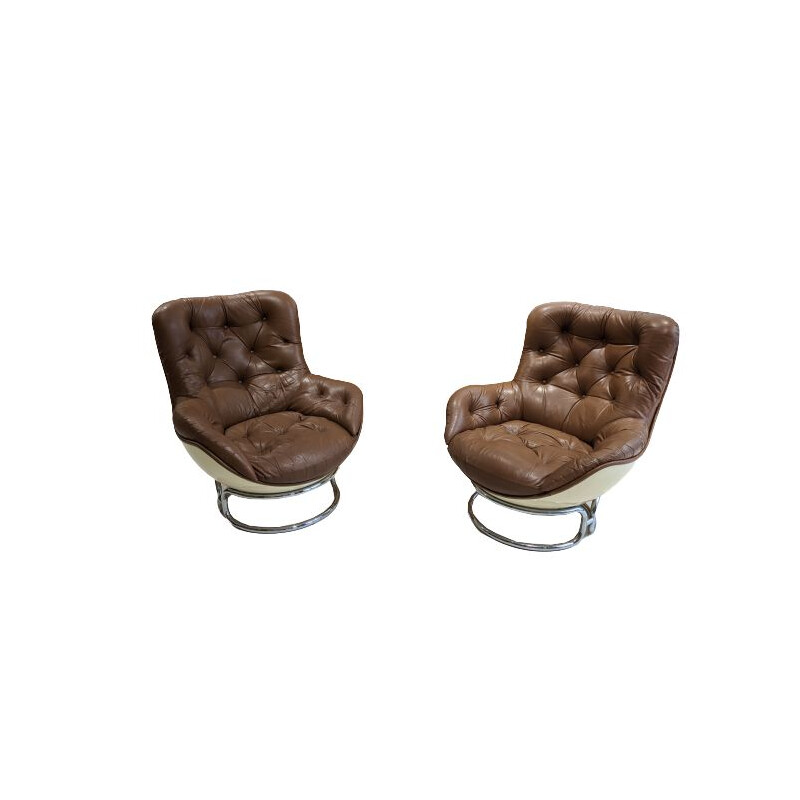 Pair of vintage leather armchairs by Michel Cadestin, 1970s