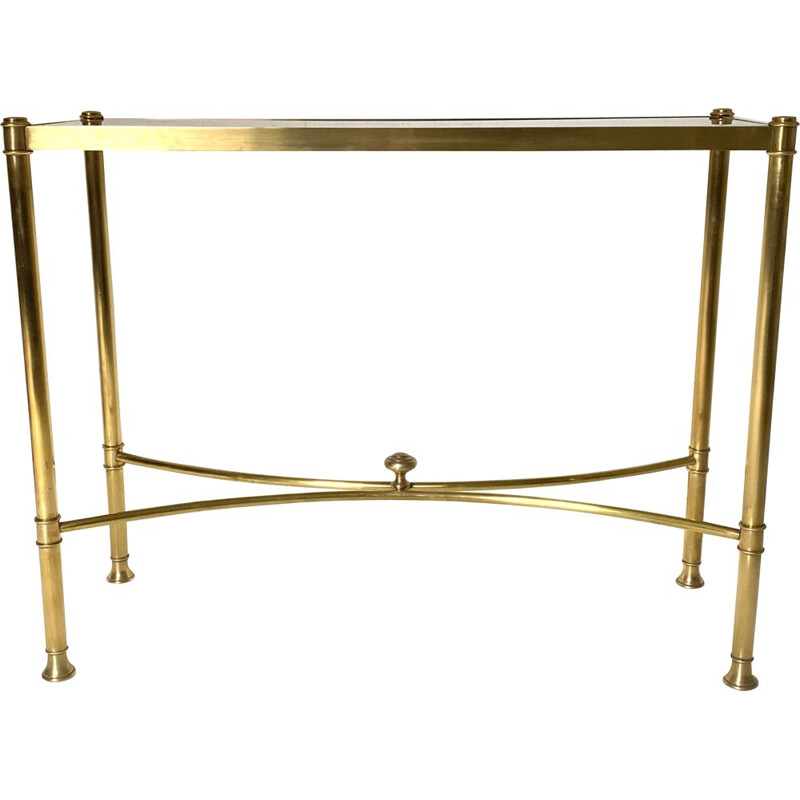 Vintage brass and glass console
