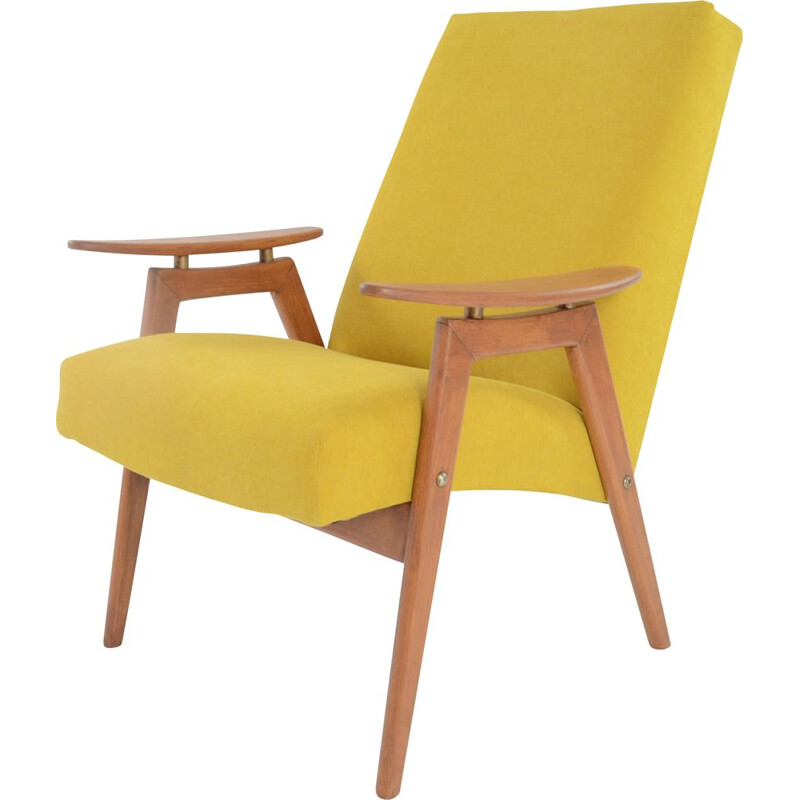 Vintage yellow armchair by Jiroutek, 1960