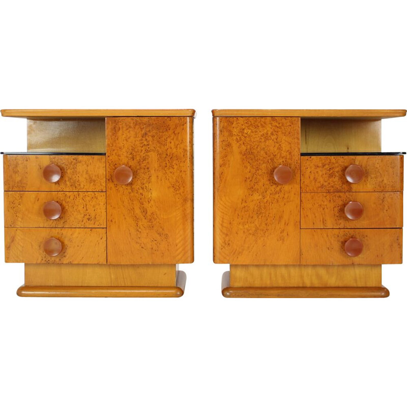 Pair of mid-century night stands by Jindřich Halabala for UP Závody, Czechoslovakia 1950s